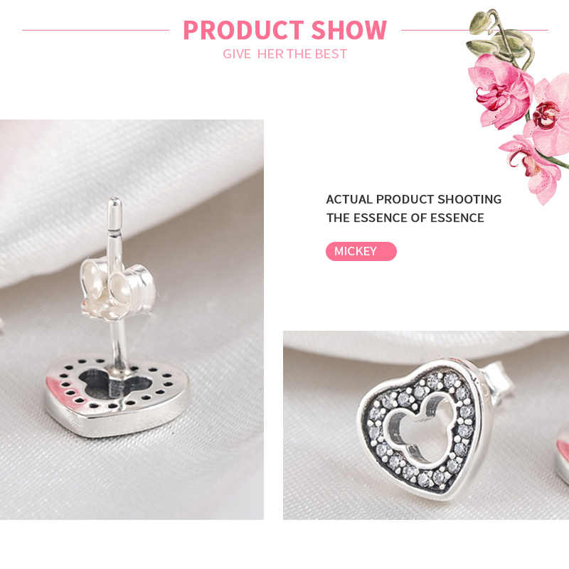 MISSITA 100% 2019 新ファッションイヤリング桃のハート中空ミッキー女性シルバージュエリーブランドのギフトホット販売