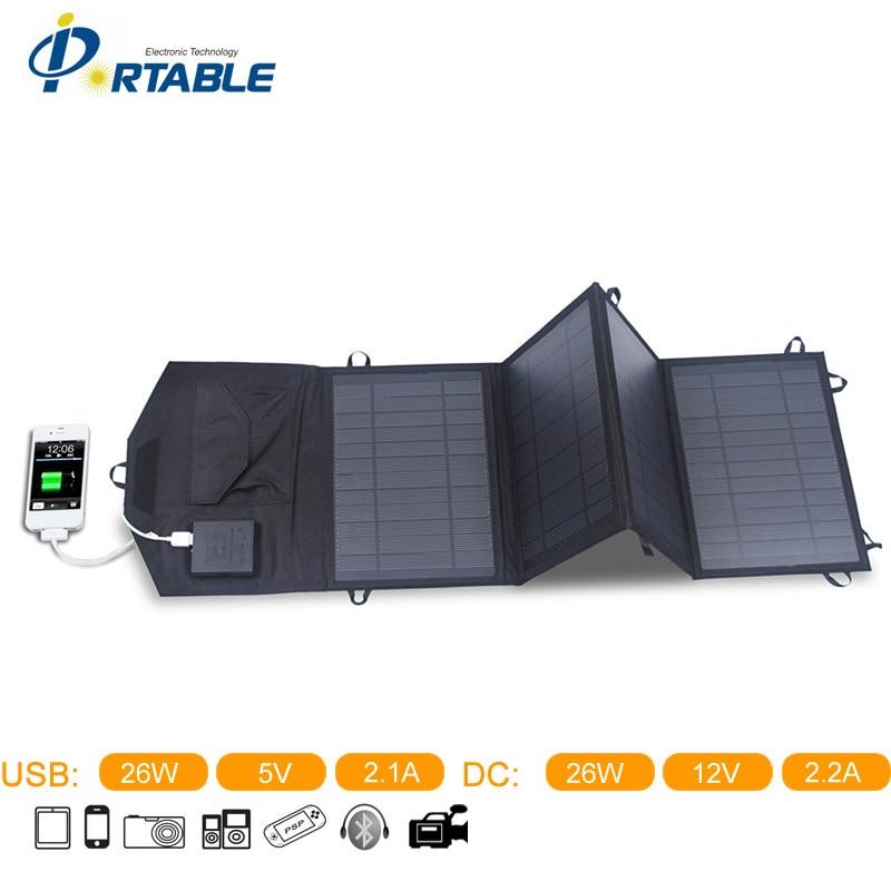 2015 Newst High Efficiency Folding Solar Panel 26W Folding Solar Panel With 4 Folds In Black Color Chargering For Phone PETCS26B