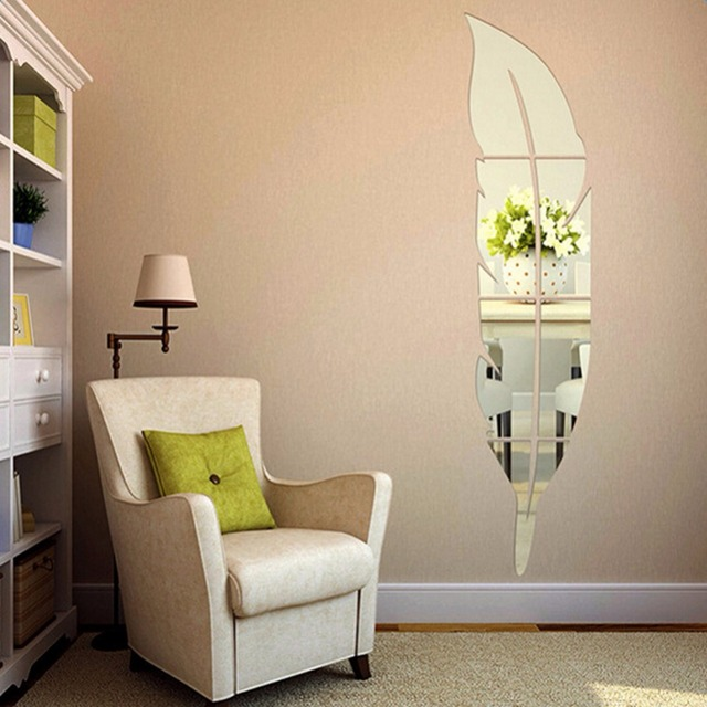 73x18cm Diy Modern Feather Acrylic Mirror Wall Stickers Home Decoration Accessories Room Silver Bedroom