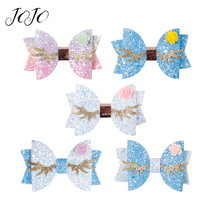 JOJO BOWS 1pc DIY Craft Supplies Sparkly Chunky Glitter Bows For Crafts Mermaid Flower Girl Hair Clip Headwear Accessories