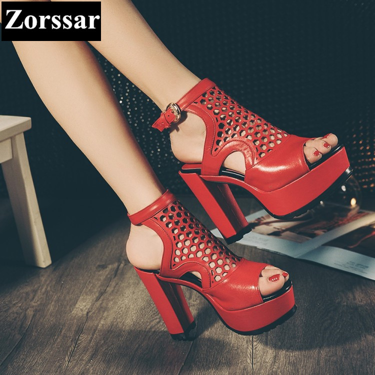 ФОТО fashion Hollow Out summer shoes womans platform high heel sandals red 2017 new genuine leather women pumps peep toe