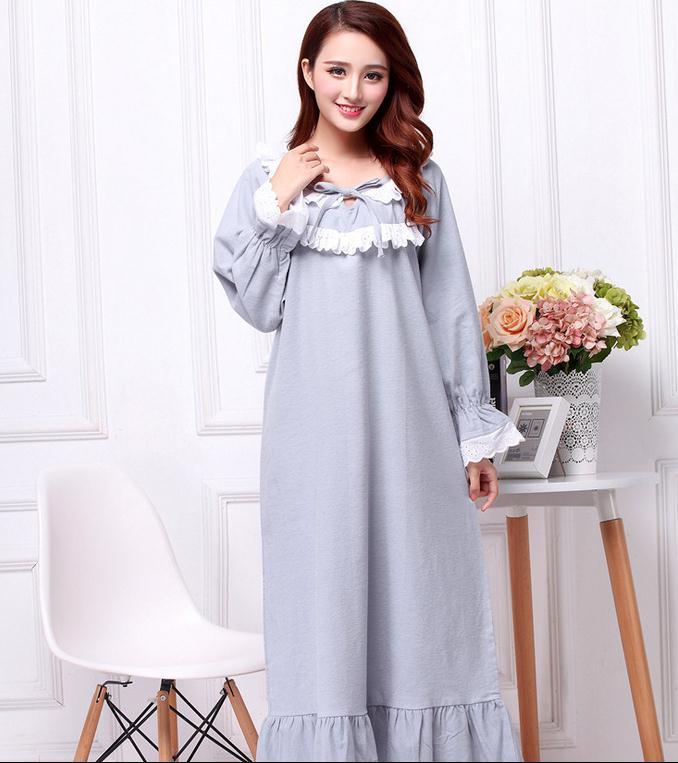 Plus size thickening sanded cotton long-sleeve ultra long nightgown female spring autumn royal princess sleepwear pijama AW309