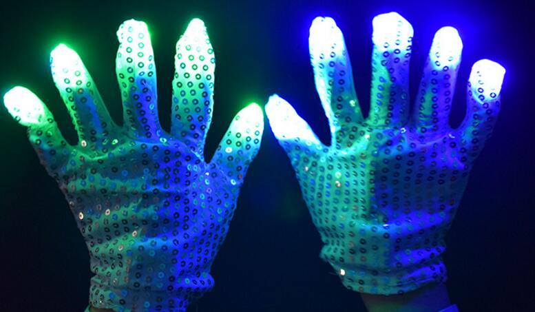 1 Pair LED Light Up Hand Finger Gloves Halloween Christmas Costume Dance Props