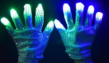 LED Flashing Sequins Gloves Party Dance Finger Lighting Glow Light Up Gloves bar Halloween Christmas performance stage props