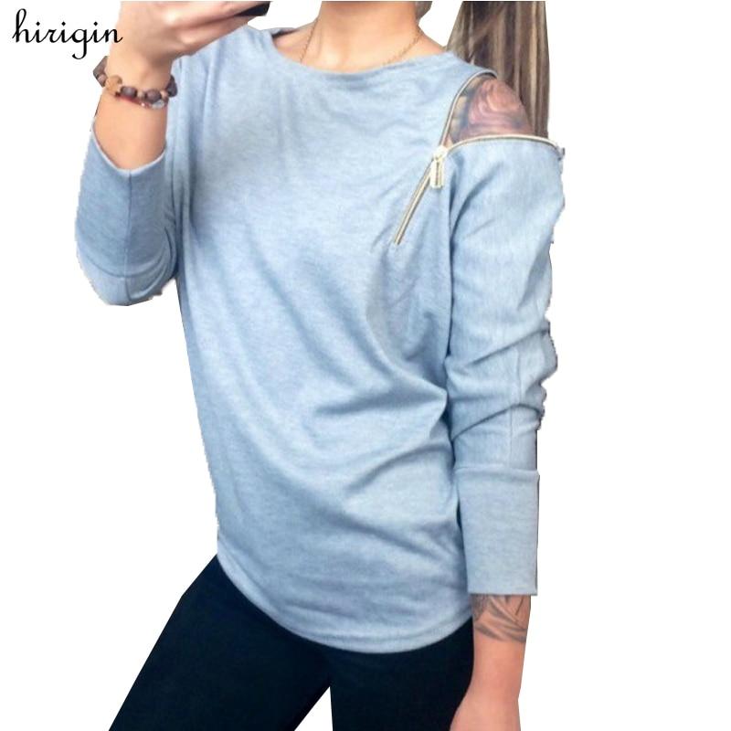 2017 Hot Sale Autumn Fashion Zipper Long Sleeve Sweatshirts Casual Solid Women's Sweatshirts Slim Zipper Pullover Female