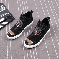 CuddlyIIPanda Brand Men Fashion Punk Shoes New Arrival Men Fashion Crystal Spring Autumn Slip On Top Quality Shoes Men Sneakers