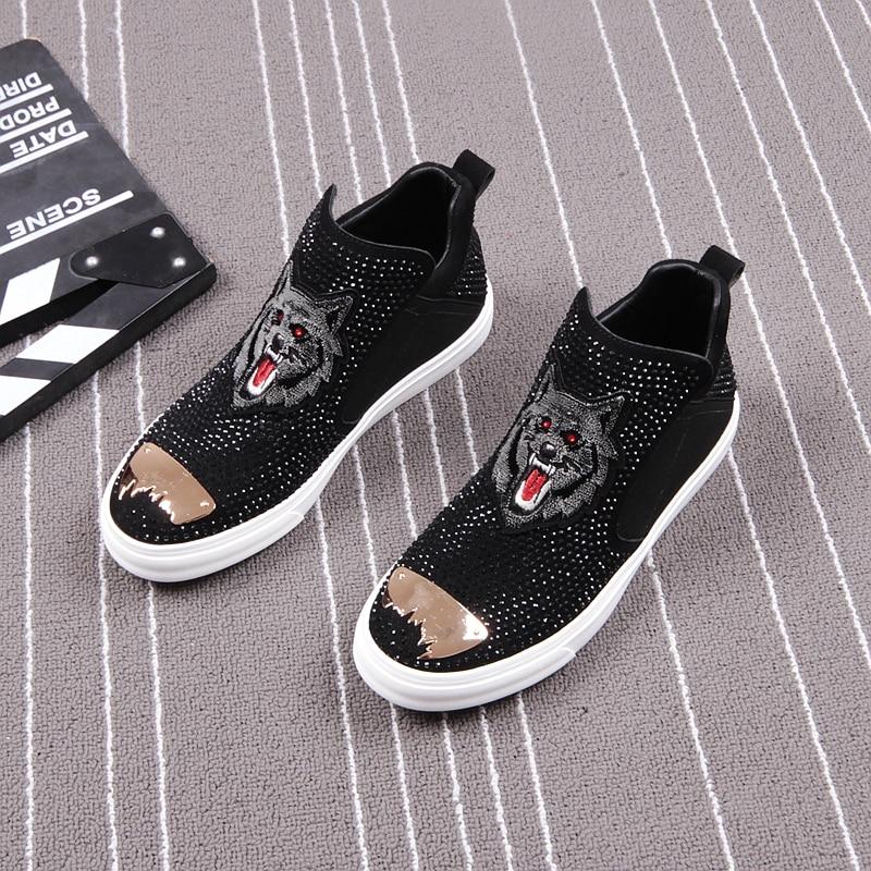 CuddlyIIPanda marque hommes mode Punk chaussures nouveauté hommes mode cristal printemps automne sans lacet Top qualité chaussures hommes baskets