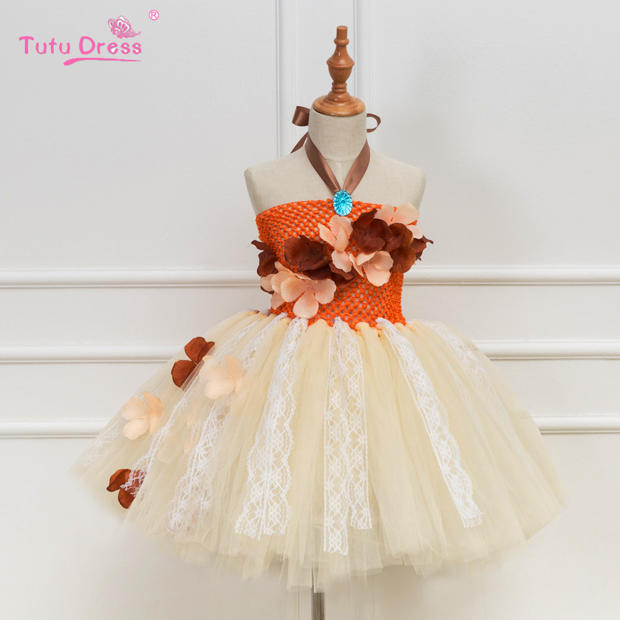 Princess Moana Tutu Dress Cute Orange Flower Blue Crystal Girls Dresses Wedding Kids Halloween Cosplay Costume Party Clothes