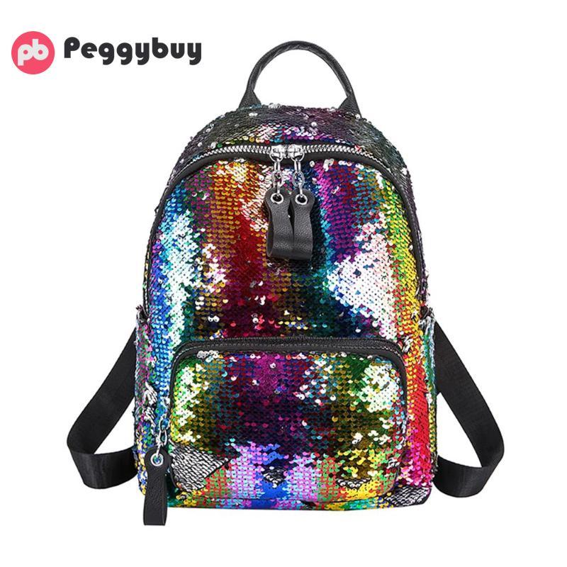 Fashion Sequins Women Leather Shiny Backpack Bling Female Mochila Girls Glitter School Bags Shine Shoulder Bag Paillette Bookbag