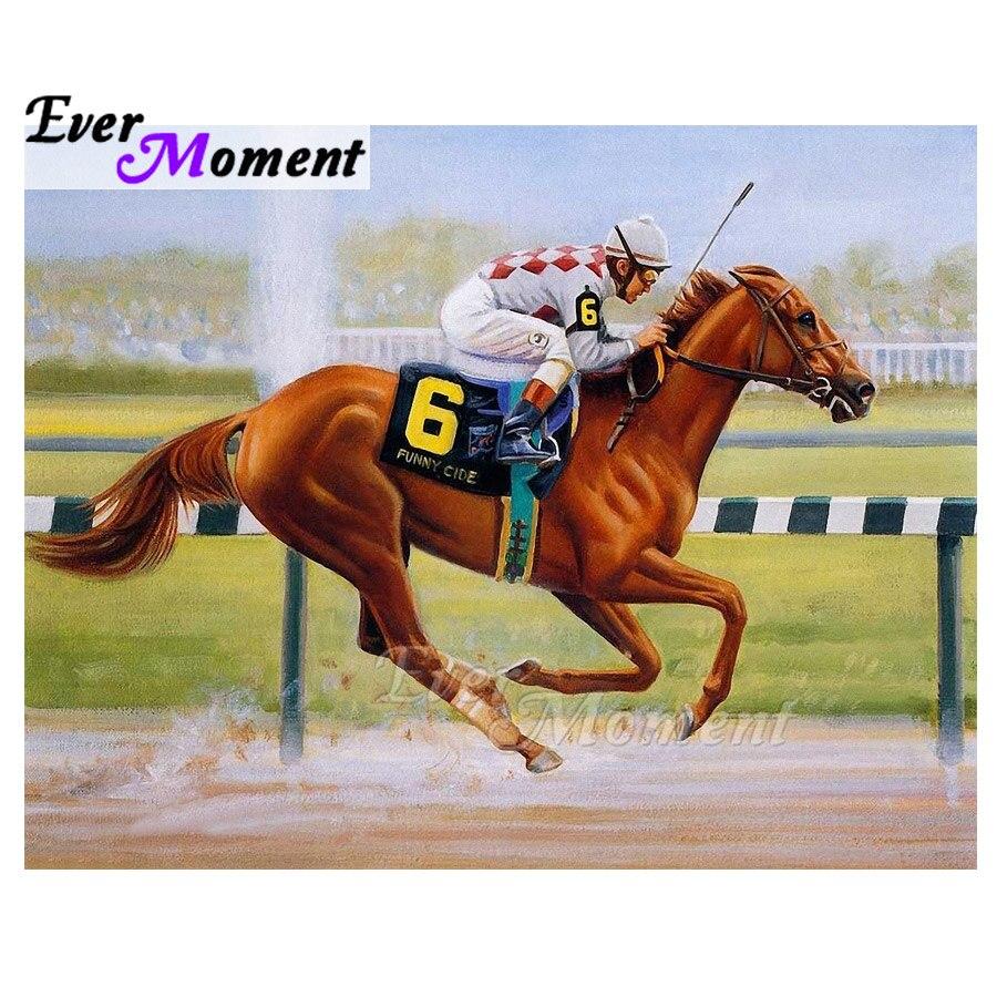 Ever Moment Diamond Painting 5D DIY Handmade Rhinestone Horse Race Cross Stitch Home Diamond Embroidery Mosaic Full 3F1393