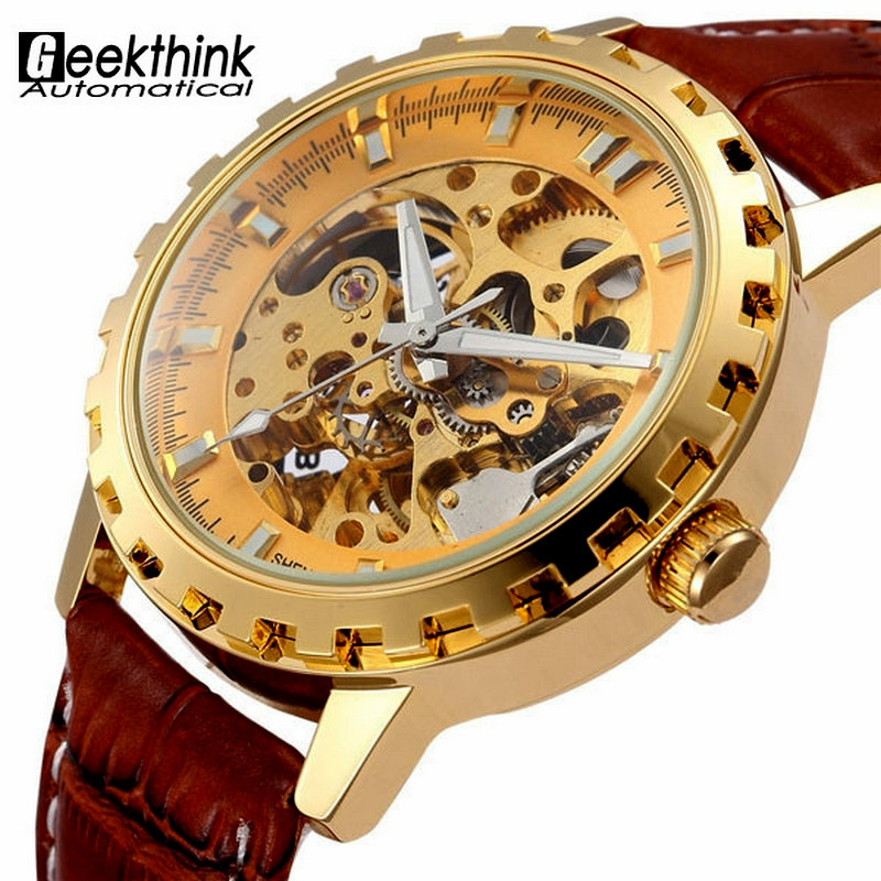 Vintage Luxury Gold Men Wristwatch Skeleton Clock Male Leather Strap Antique Steampunk Casual Automatic Mechanical Watches New цена 2017