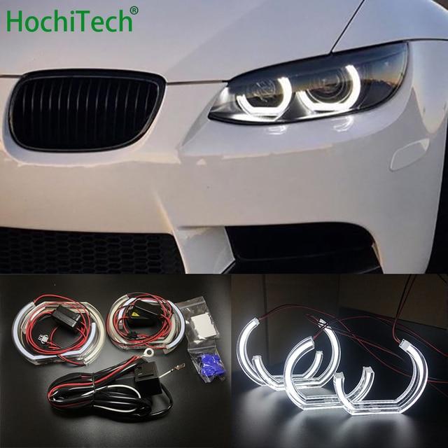 BMW 3 시리즈 E90 E92 E93 M3 쿠페 및 카브리올레 2007 2013 자동차 스타일링 고품질 DTM 스타일 화이트 크리스탈 LED 천사 눈