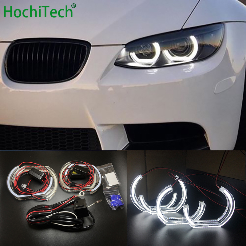For BMW 3 Series E90 E92 E93 M3 Coupe and cabriolet 2007 2013 Car styling High Quality DTM Style White Crystal LED angel eyes-in Car Light Assembly from Automobiles & Motorcycles