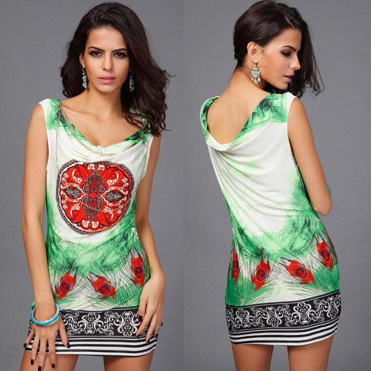 2cb94bcfb Mujeres moda playa verano sin mangas vintage impresión partido mini vestido  sexy V cuello vestido bohemio vestido del club YM2368