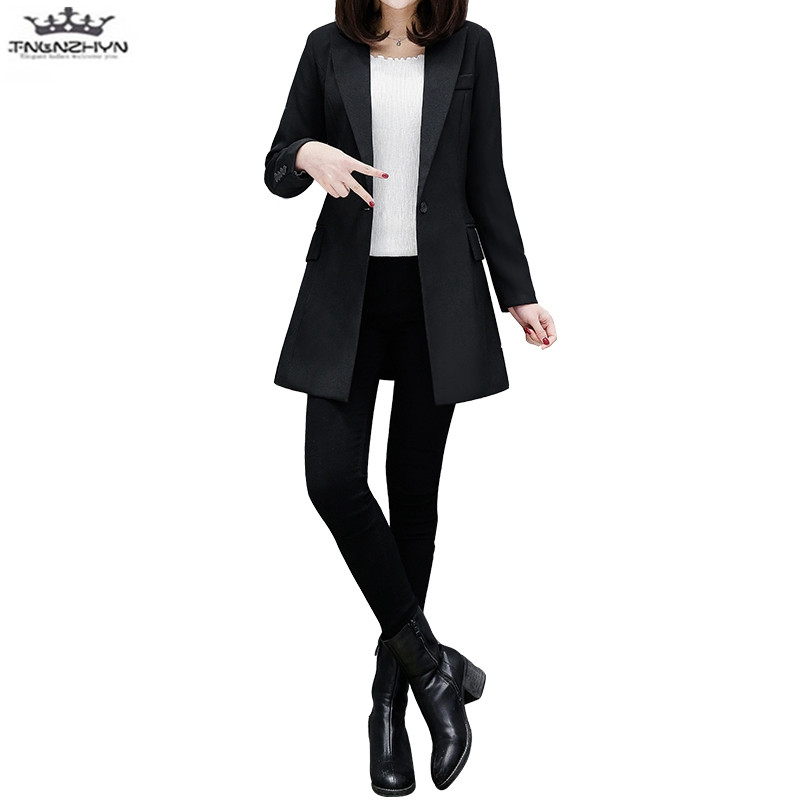 tnlnzhyn 2018 Spring Autumn Women Blazers And Coat One Buttons Small Suit Casual Blazers Slim Long Blazers Jacket Y1034