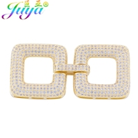 Simple Trendy Jewelry Two Square Charm Micro Pave Zircon Geometry Clasp Connector For Necklace Bracelet DIY