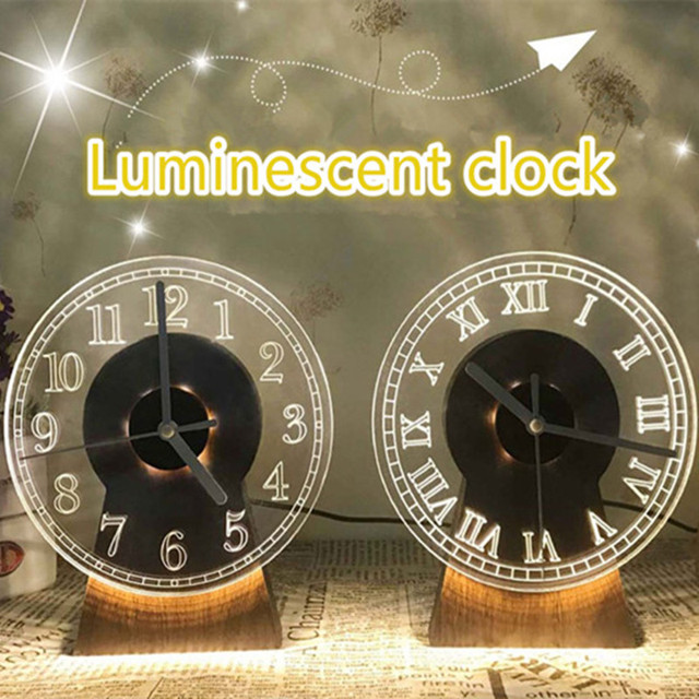 Rome Style Living Room Clock Ornaments 3 Styles Desk Type Creative Wood Clock, Wooden Handicraft LED Night Light Clock