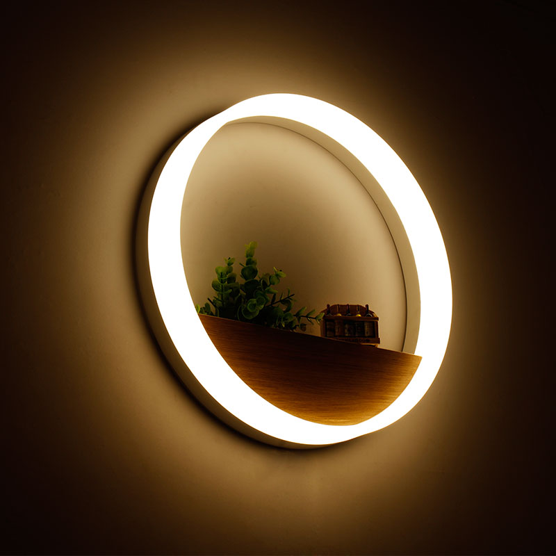 20cm/40cm Simple Bedroom Bedside Wall Light,Modern LED Wall Lamp Solid Wood Living Room Balcony Ring Shaped Wall Lights for Home цена