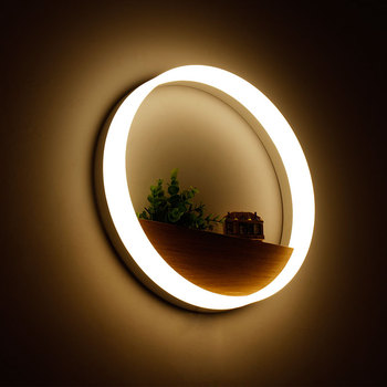 20cm/40cm Simple Bedroom Bedside Wall Light,Modern LED Wall Lamp Solid Wood Living Room Balcony Ring Shaped Wall Lights for Home