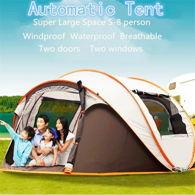 4-6 personnes 290*200*130 cm imperméable à l'eau coupe-vent grand Camping jeter tentes tentes automatiques escalade randonnée chaude 2018 nouveau ANTI-UV