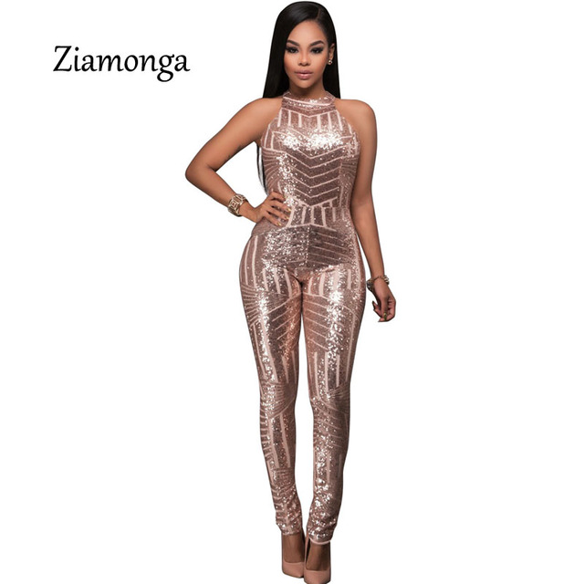 66a82677175a Ziamonga Macacao Feminino 2017 Charming Women Gold Sequin Jumpsuit Bodysuit  Fashion Playsuit Sexy Rompers Womens Jumpsuit