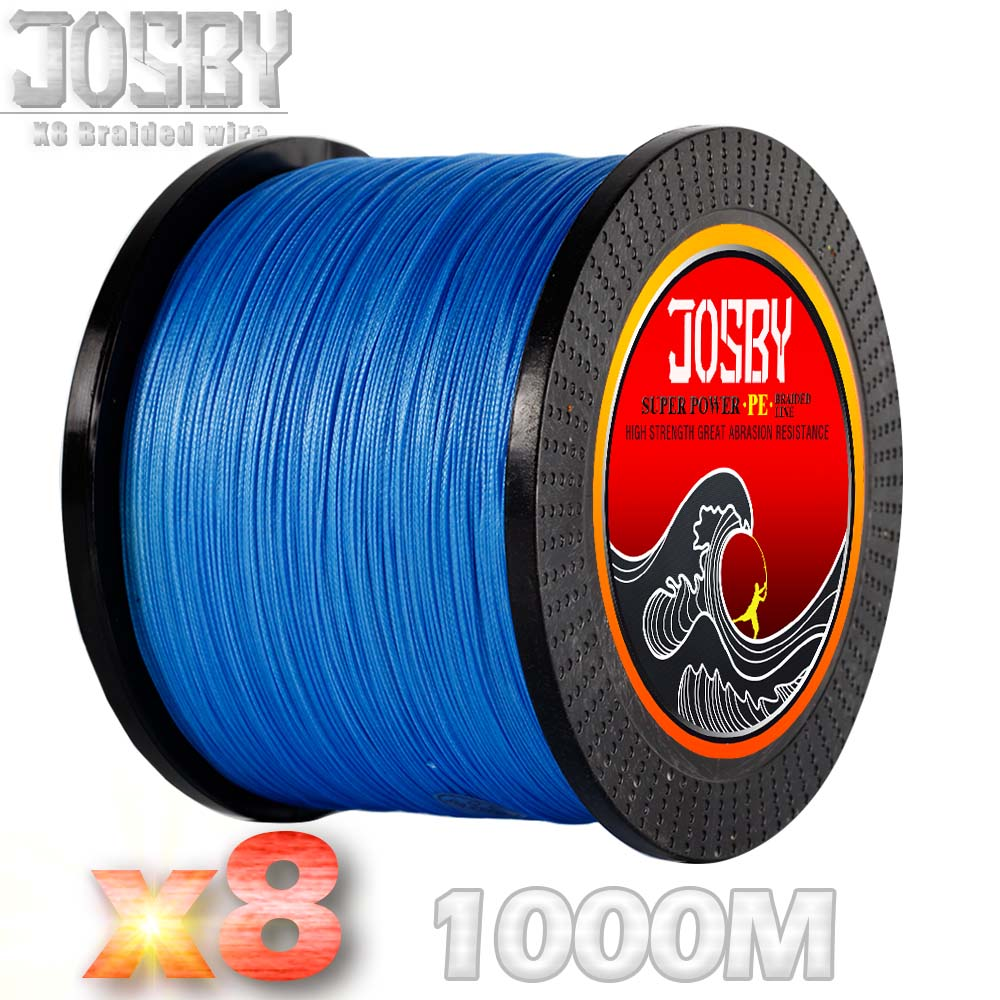 JOSBY Braided8 STRANDS PE Braided Fishing Line 1000M Super Strong Japan Multifilament Fishing Line Fishing Cord Green multicolor 1000m strong japan multifilament pe braided fishing line rainbow super fishing rope for sea fishing fishing braid 8 strands