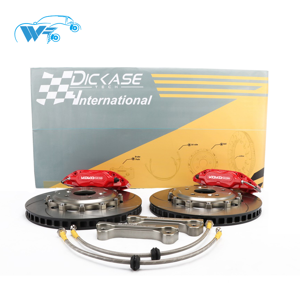KOKO RACING wt7600 original red color <font><b>brake</b></font> caliper 4 pot 285*24mm drilled <font><b>brake</b></font> disc 16 inches designer for <font><b>bmw</b></font> 318 is <font><b>e30</b></font> image