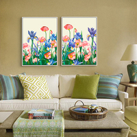 HAOCHU Frameless Picture Blossoming Flowers Shrubs Colorful Landscape Canvas Painting Oil Poster For Office Home Wall