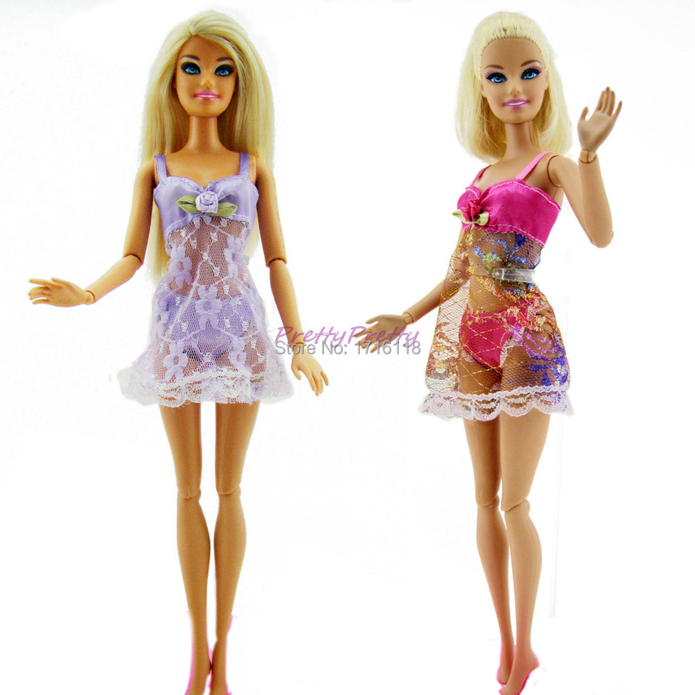 Barbika (Barbie) - Page 2 2-Sets-Two-Colorful-Sexy-Pajamas-Lingerie-Nightwear-Lace-Night-Dress-Bra-Underwear-Clothes-For-Barbie