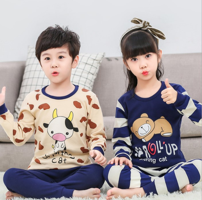 Boy pajamas long-sleeved big boy cotton suit clothes female baby children autumn clothes children underwear boys home servic футболка для мальчиков children boy clothes camisa 100