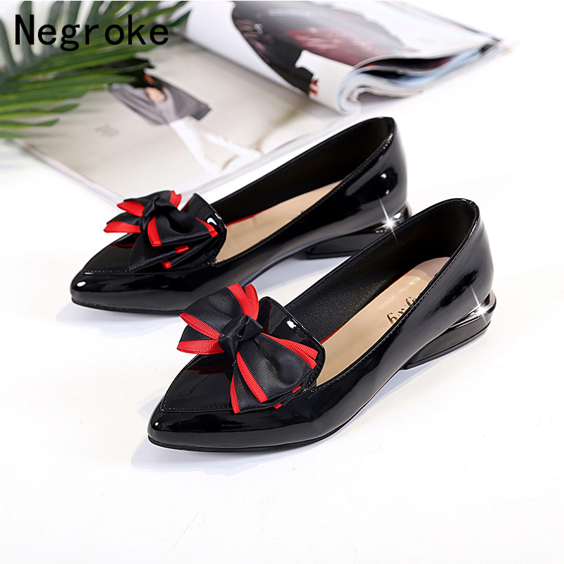Sweet Bow Lolita Shoes Women Pumps Slip On Loafers Shiny Leather Moccasins Red Bottom High Heels Black Shoes Woman Plus Size 43