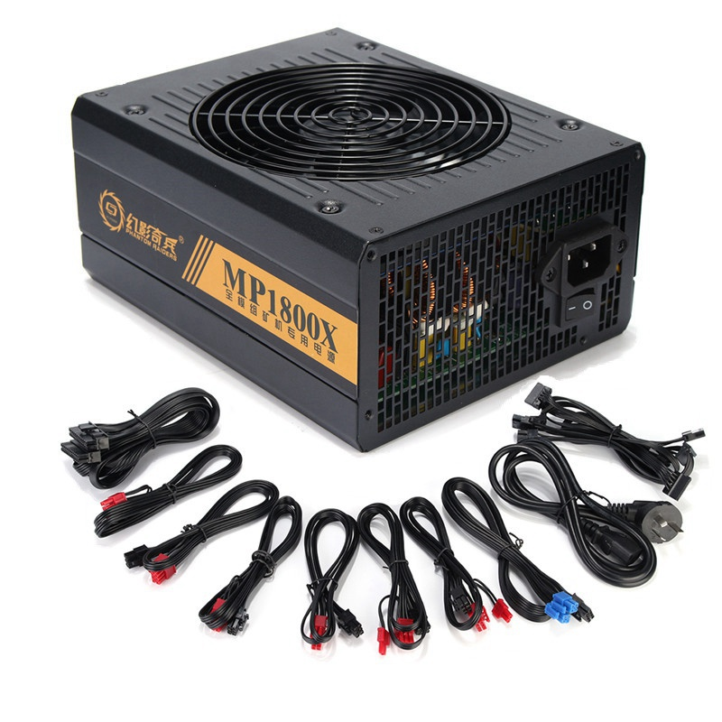 6 GPU Miner Case 1600W Ethereum Miner Power Supply For Bitcoin Miners support 6 graphics Card New 6 SATA Interface Mining Power цены онлайн