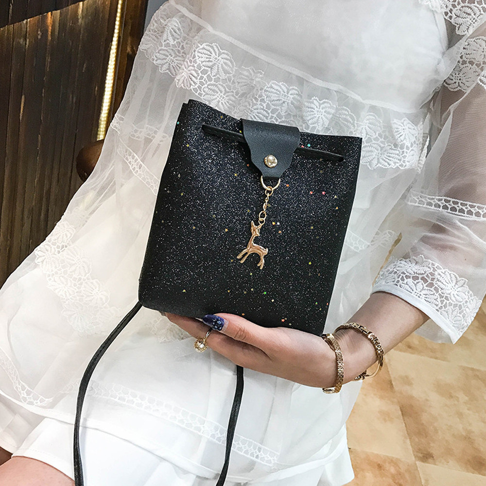 2018 женские Сумки блестящие Блёстки кожа Crossbody маленький олень плеча Курьерские сумки для женщин Bolsas feminina