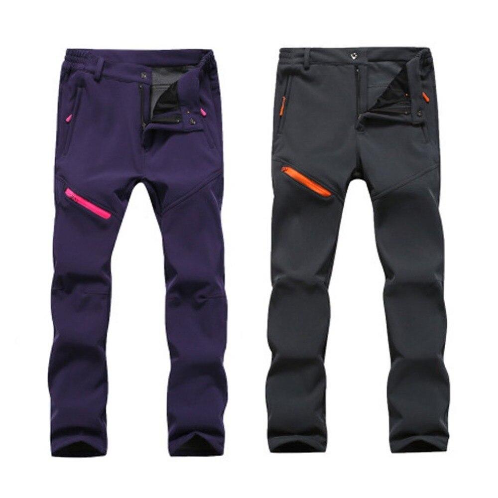 OUTAD Warm Men Women Pants Solid Color Zipper Closure Waterproof Windproof Elastic Trousers Outdoor Climbing Runing Long Pan