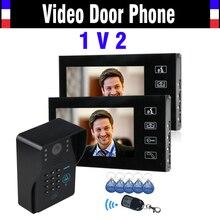 """Toque la tecla 7 """" LCD Video puerta timbre del teléfono Intercom sistema RFID de Control de acceso noche impermeable del IR visión cámara 1V2 Monitor"""