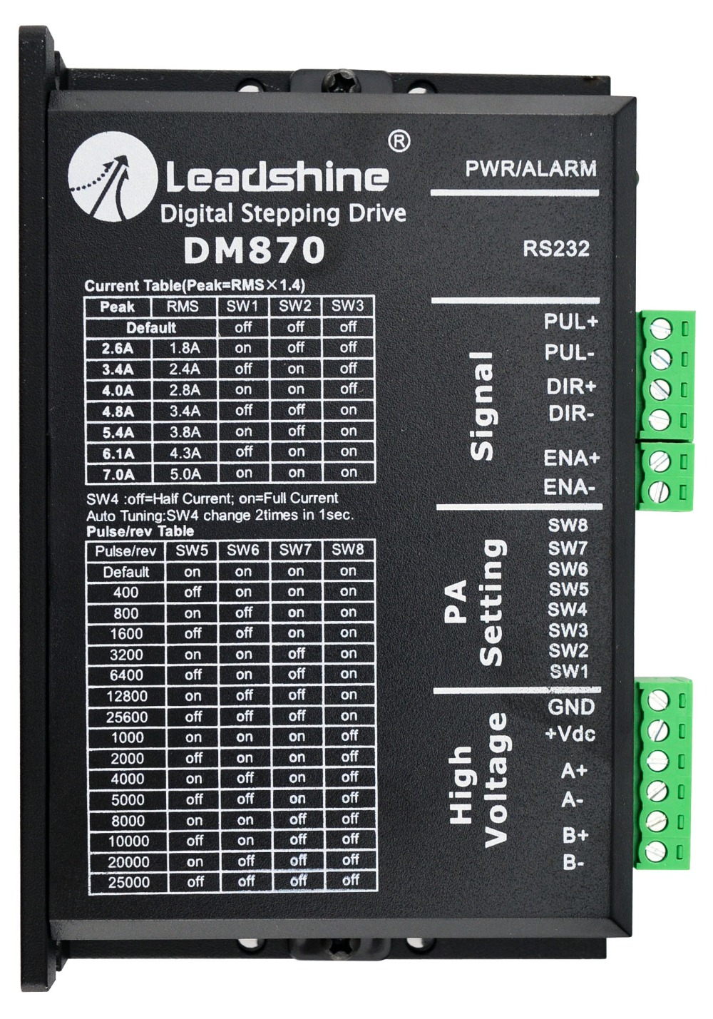 Leadshine DM870 Digital Stepper Motor Drive 24-72 VDC with 0.5-7A toothed belt drive motorized stepper motor precision guide rail manufacturer guideway