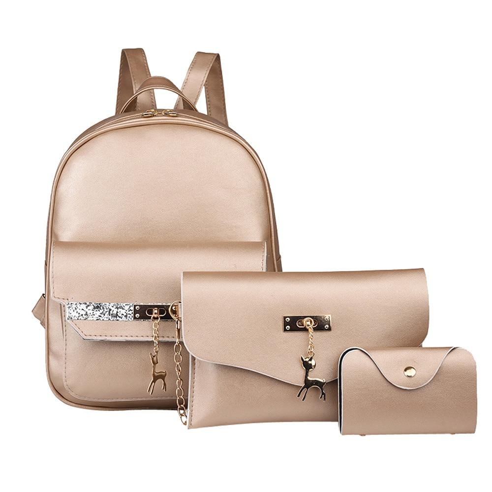 Fashion Woemn Leather Small Deer Backpack School Bag+Messenger Bag+Card package JUNE4