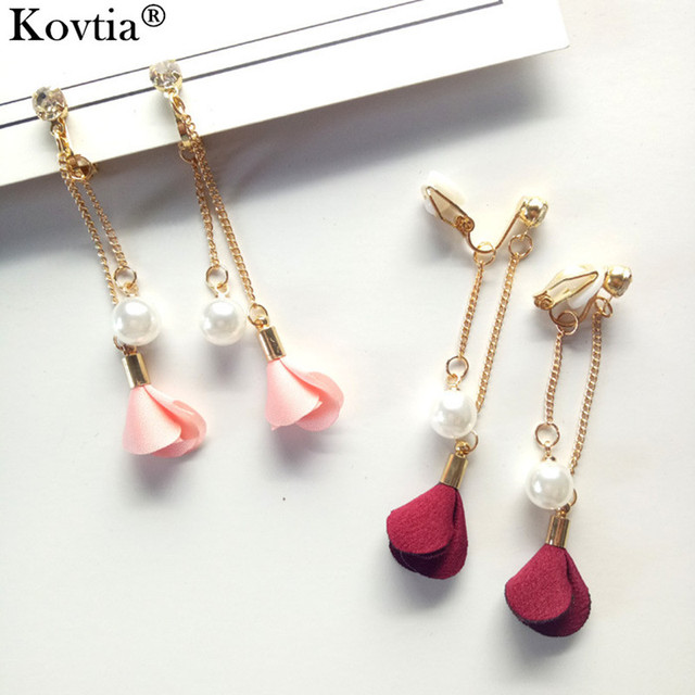 Kovtia New Red Flower Clip Earrings Without Piercing Imitation Pearl Ear Cuff On For