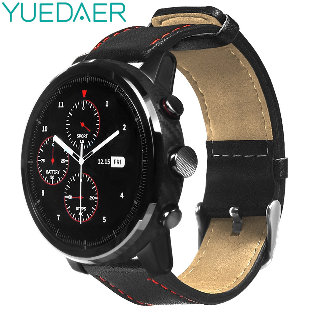YUEDAER Smart bands for Huami AMAZFIT Pace Stratos 2 strap Genuine leather Strap for xiaomi huami amazfit 2 bracelet strap 22mm huami amazfit pace replacement strap black green