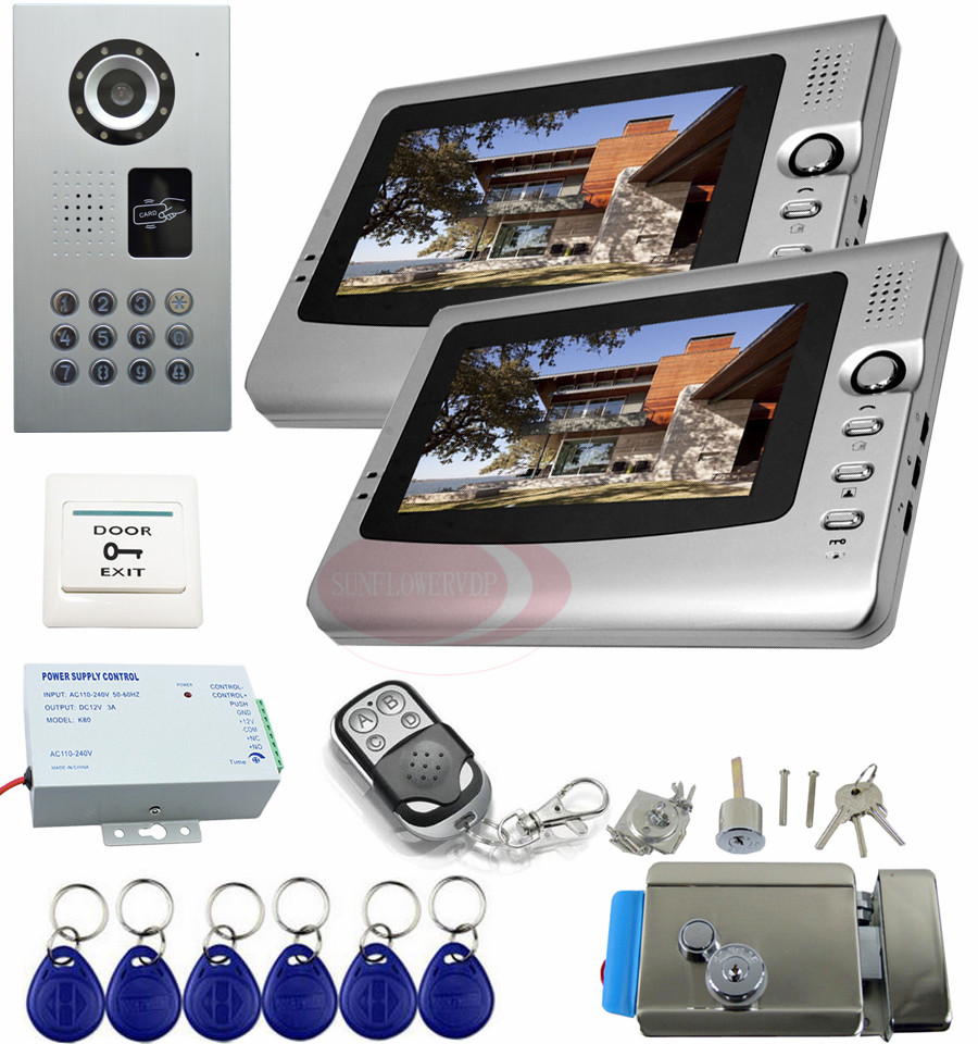 Video Intercom 2 Monitors Video Intercom With Electric Lock 7inch LCD Monitor security camera monitoring system IP65 waterproof