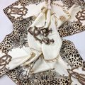 Heavy gilt edging handmade silk scarf 100% silk leopard big beige natural silk scarves