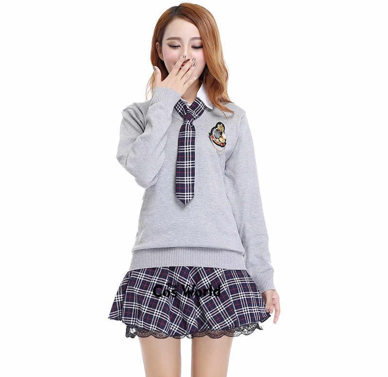 Аккуратный студенческий школьная форма Япония JK форма для средней школы серый свитер с v-образным вырезом темно-синяя клетчатая юбка белая рубашка костюм