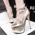 Mulheres moda primavera e verão de salto alto bombas casual feminina peep toe sapatos de salto fino lady lazer partido strap buckle sapatos
