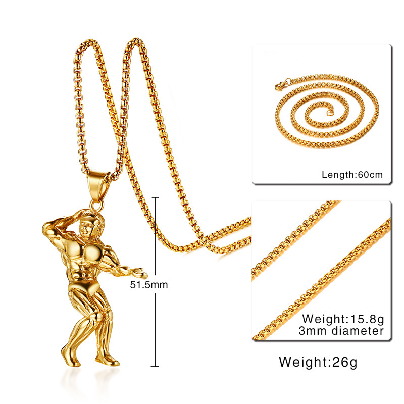 Gold-colo Running Fitness Health Jewelry Necklaces Men Free Chain ...