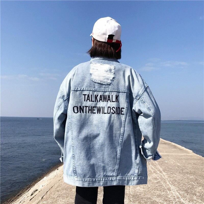 Harajuku Fashion Letter Print Washed Women Denim Jacket Vintage Cotton Basic Jacket Mill White Loose Hole Denim Jacket Coat