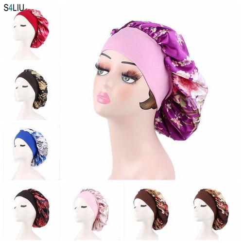 Women Satin Bonnet Cap Night Sleep Hair Head Cover Wide Band Elastic Hat Adjust Head Cover Satin Flower Print Turban Cancer Cap