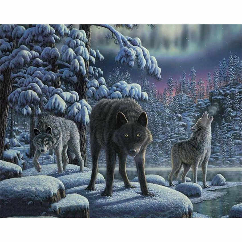 DIY Digital Painting By Numbers Package Three Wolf oil painting mural Kits Coloring Wall Art Picture Gift frameless