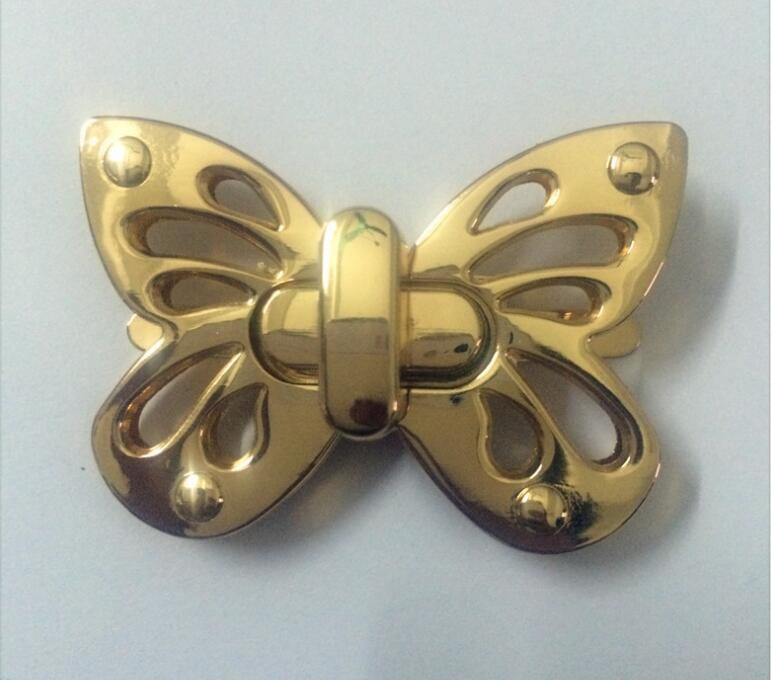 Бесплатная доставка Мешок с Частей и Аксессуаров (6 Шт./лот) золото металл выдалбливают бабочка украшения twist lock 1-43