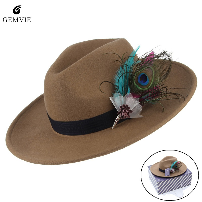 e458b6fff93a5 Vintage Women Jazz Cap Fedora Hat Solid Color Wide Brim Cowboy Hat Elegant  Feather Decor 100% Wool Felt Hat Sunhat