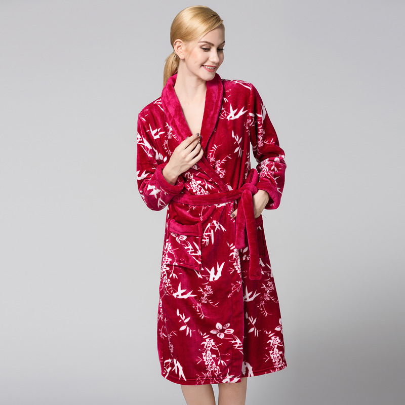 Bath Robe Female Printing Coral Fleece 4 Colors Night Gown Spa